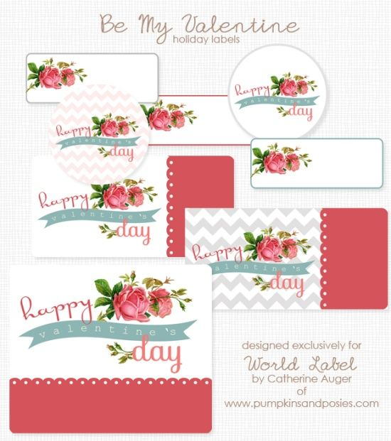 Free printable labels for Valentines Day with a rose theme by Catherine Auger.
