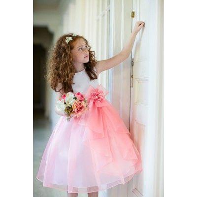 White/Coral Zoe Flower Girl dress