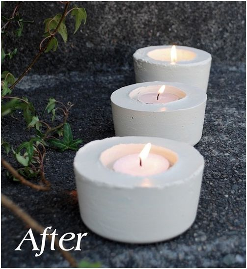 Homemade concrete tealight holders made with containers for Homemade candle holders