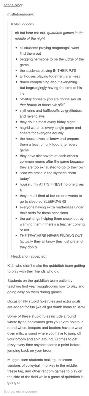 Night Quidditch = BEST IDEA EVER<<<I LOVE THE SLEEPOVER PART AND HOW IN THIS ALL THE HOUSES GET ALONG: