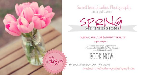 Photographer Marketing Template Spring Mini Session www.etsy.com/shop/MunchieandCompany
