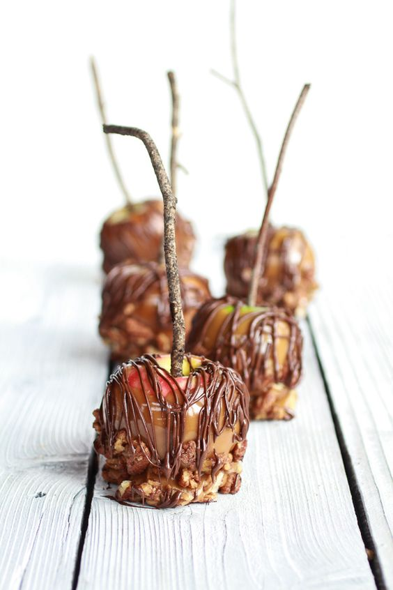 ... Cinnamon Pecan Caramel Apples Chocolate Drizzle   halfbakedharvest.com