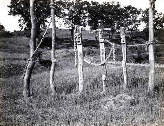 Jangseung - Spirit totems. Japanese Colonial Period postcard art/photography.