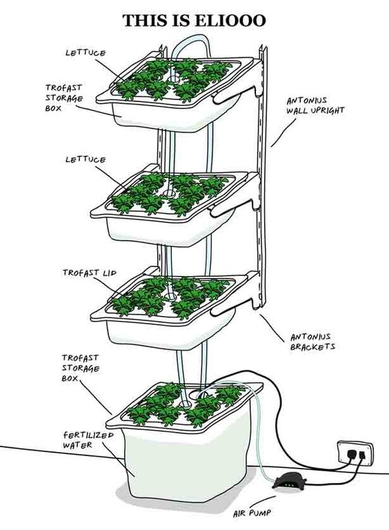 how to build indoor hydroponic gardens using ikea storage boxes aquaponic pinterest g rten. Black Bedroom Furniture Sets. Home Design Ideas