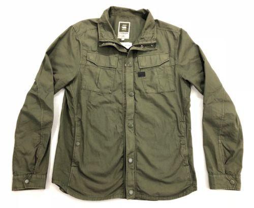 Men S G Star Raw Cargo Line Sz L Filch Combat Overshirt Long Sleeve Green Jacket Military Jacket Jackets Windbreaker Jacket