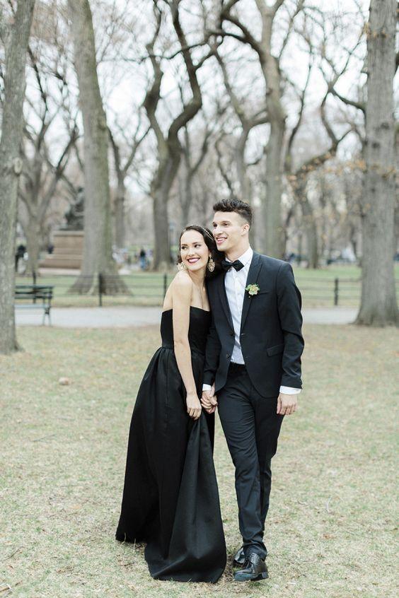 Stylish + Modern Winter Wedding Inspiration   fabmood.com #black #weddingdress