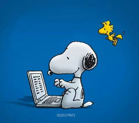 Snoopy Typing On Computer With Woodstock Flying Behind Him