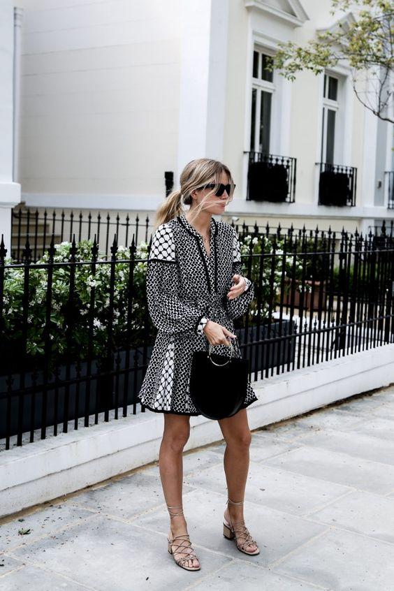 Keffiyeh print dress, Chloé sandals & Future Glory bag | Lucy Williams | @styleminimalism