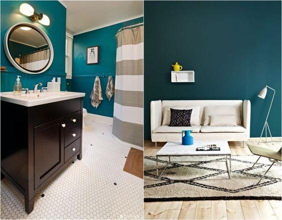 Couleur de peinture 2015 bleu vert dans toutes ses nuances d coration et salons for Peinture chambre vert canard
