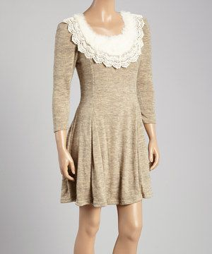 Another great find on #zulily! Beige Rabbit Fur-Collar Fit & Flare Dress by A'reve #zulilyfinds