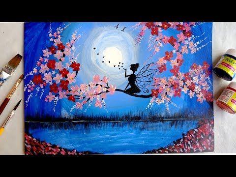 Easy Cherry Blossom Flowers Moonlight Painting Sakura Flower Painting Maeve Paintin Moonlight Painting Cherry Blossom Painting Acrylic Tree Painting Easy