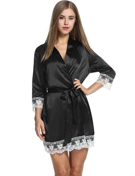 ZEARO Damen Kimono Morgenmantel Langarm Bademantel mit Spitzen Elegant Schlafanzug Nachtwäsche: Amazon.de: Bekleidung