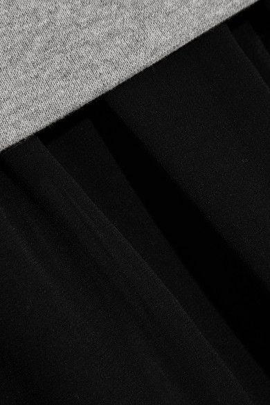 Baumwoll-Jersey in Grau, Chiffon in Schwarz  Ohne Verschluss  Material 1: 100 % Baumwolle; Material 2: 100 % Polyester; Material 3: 95 % Baumwolle, 5 % Elastan  Trockenreinigung