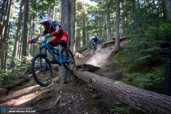 Stage 1 was the most gentle of the 5 stages held in Whistler, but the steepness of the trail was an eye opener, and a warning to racers that they weren't in Kansas anymore. Iago Garay being hunted down by Carlson.