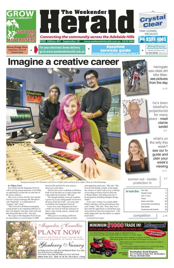 The online edition of the Weekender Herald is now ready for you to peruse. Visit: http://adelaidehills.realviewtechnologies.com/