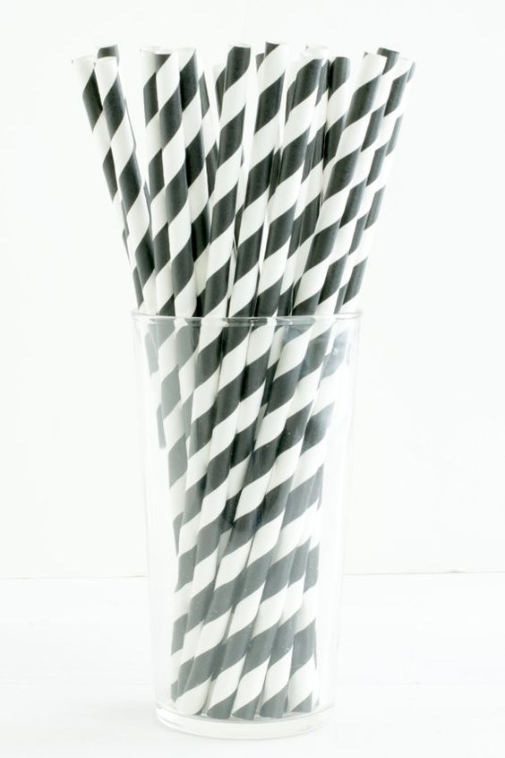 25 Diagonal Stripe Black and White Straws- Great for weddings, cocktail parties, birthday parties, and showers!