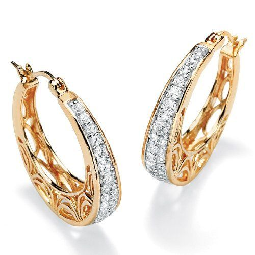 PalmBeach Jewelry .92 TCW Round Cubic Zirconia 14k Gold-Plated Filigree Hoop Earrings Palm Beach Jewelry. $59.99