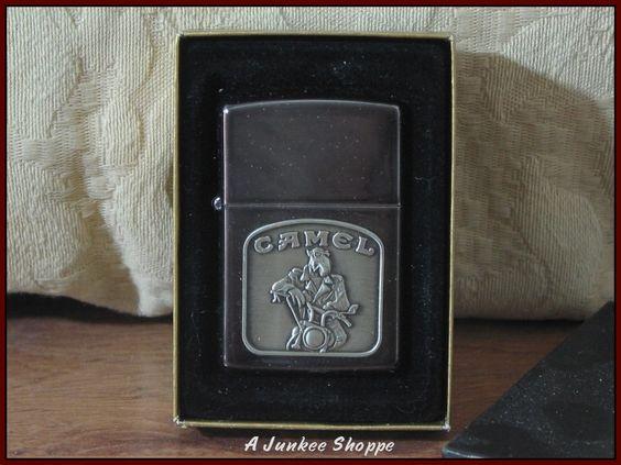 ZIPPO LIGHTER Camel Cigarettes Smoking Biker Joe Theme On Midnight Chrome  https://ajunkeeshoppe.blogspot.com/