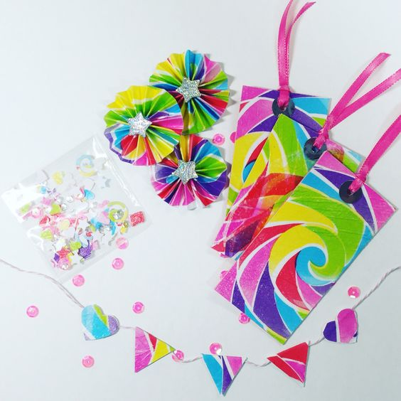 OOAK Embellishment Packet - Paper rosettes Paper tags Paper shaker Paper banner Paper flowers Birthday party Paper embellishment by FriendMailFun on Etsy https://www.etsy.com/listing/400162251/ooak-embellishment-packet-paper-rosettes