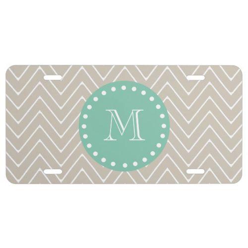 Beige Chevron Pattern | Mint Green Monogram License Plate