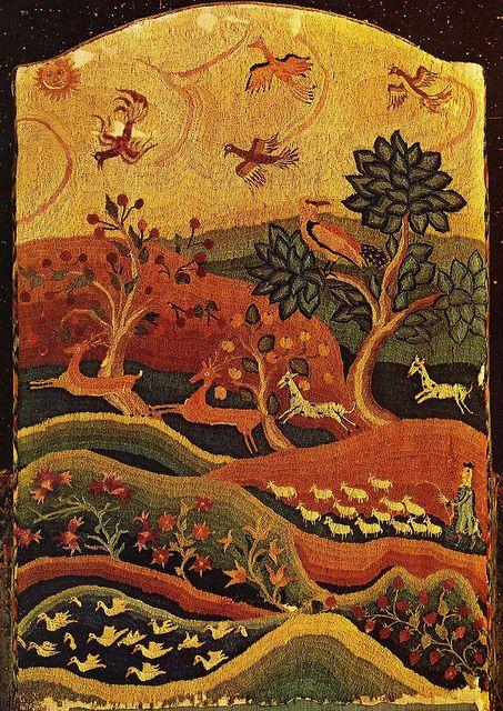 Woodland animal scene. American embroidery 1725 | Crewel ...
