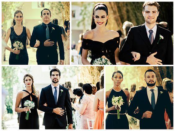 Madrinhas com vestido preto e buquê - Casamento Angelica Erthal e Brian