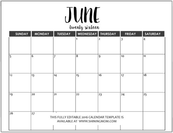 Just In Fully Editable 2016 Calendar Templates in MS Word Format