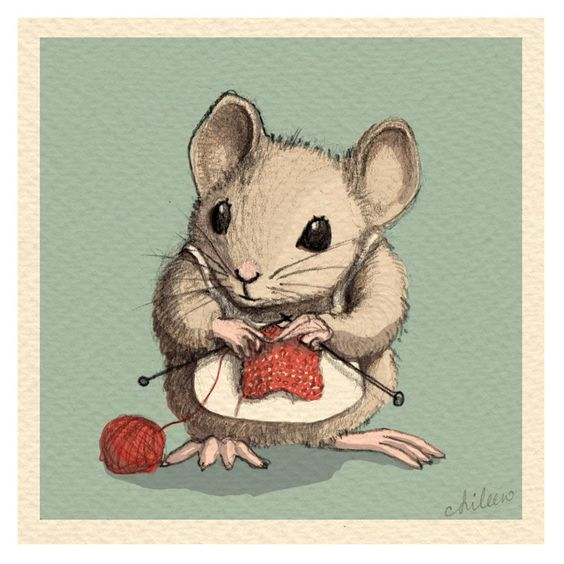 From the fabulous artist, Aileen Leijten. 2013. mouse knitting art: