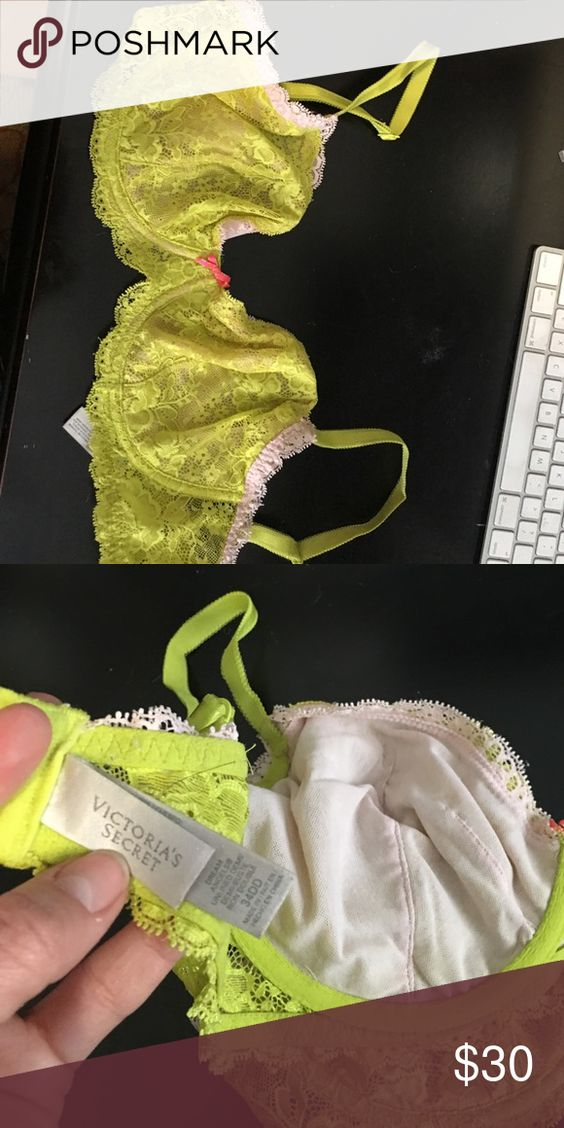 Neon yellow and a touch of pink VS bra Neon yellow and a touch of pink VS bra. Used Victoria's Secret Intimates & Sleepwear Bras