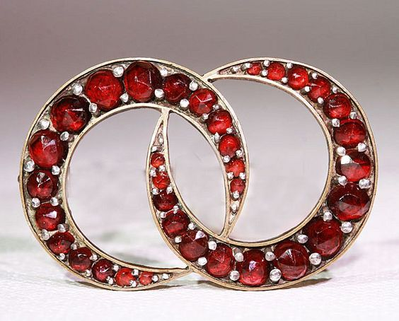 Antique Victorian Garnet Double Crescent Moons Brooch