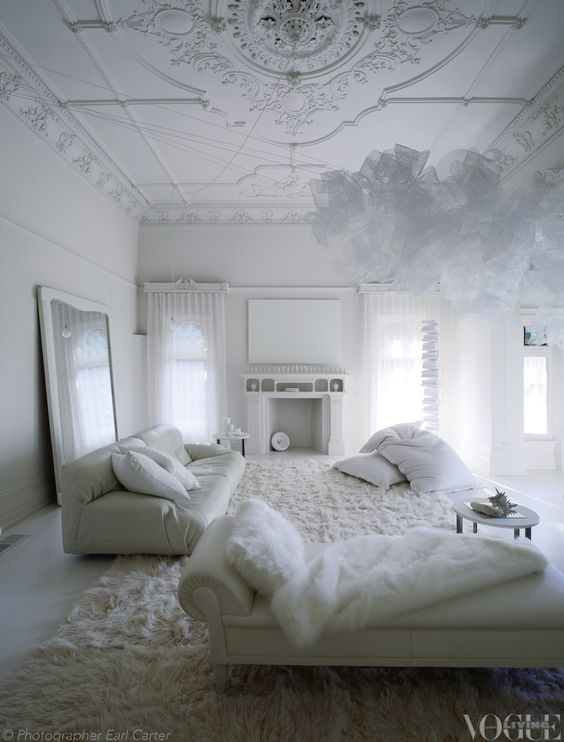 An all-white room inside Melbourne's Red Court mansion. From 'Holding Court', a story on page 146 ofVogue LivingSeptembe...