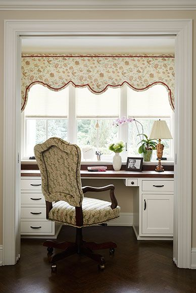 Love the shaped pelmet. A charming desk for her in the butler's pantry tucks away behind pocket doors when unneeded. By Jessica Jubelirer Design, Whitefish Bay, Wisconsin.