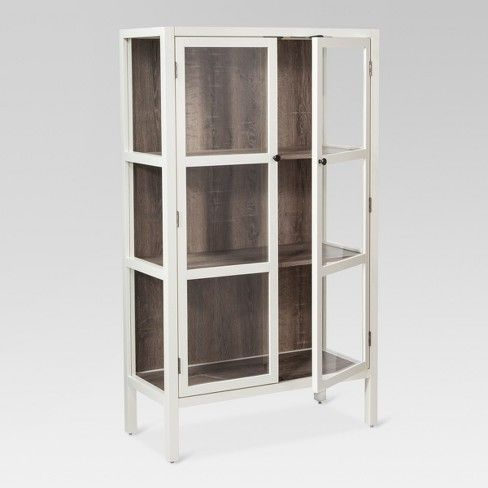 56 2 Hadley Library Cabinet With Glass Shell White Threshold