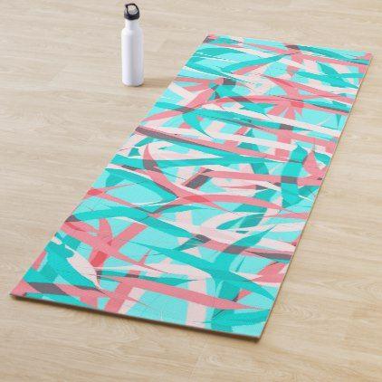 Coral Pink Aqua Blue Abstract Artsy Pattern Yoga Mat Zazzle Com