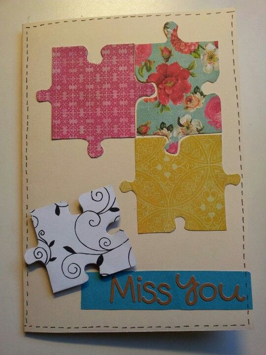 Joanna S Farewell Card 2013 Used Crate Paper Random Collection Doodlebug Teensy Tiny Alphabets Puzzle Pieces Were Creative Cards Farewell Cards Simple Cards