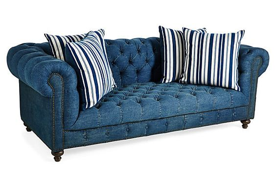The family the o 39 jays and chesterfield on pinterest Denim couch and loveseat