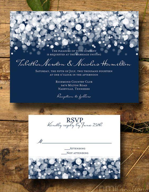Navy Lights Wedding Invitation DIGITAL DIY by nmiphotocreations id want gray and turq