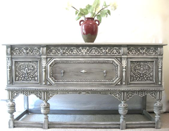 Stunning. love, just love. Sideboard cabinet painted with Annie Sloan Chalk paint.                                                                                                                                                      More