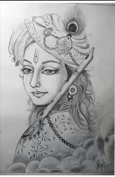 Lord Krishna Pencil Sketches In 2020 With Images Pencil Art