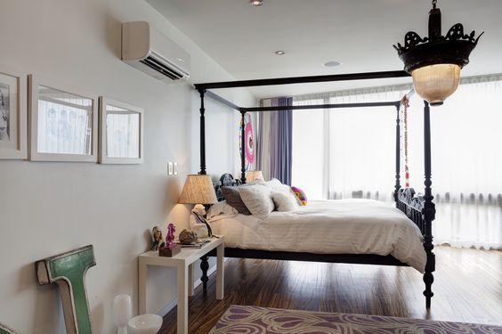 Ductless System Hi Wall Indoor Unit In Bedroom Interior Design Interior Ductless Heating And Cooling