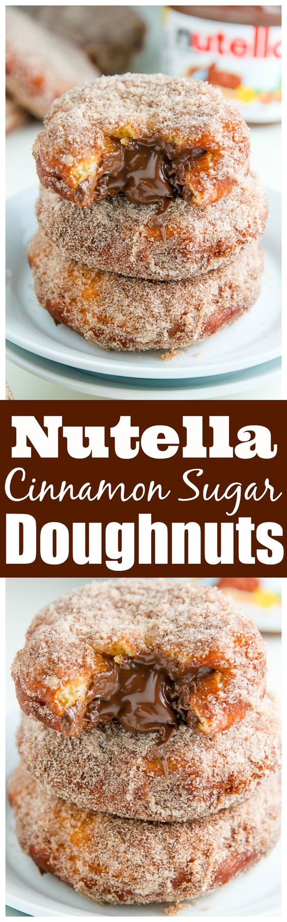 Homemade Cinnamon Sugar Doughnuts stuffed with a dollop of creamy Nutella. The definition of decadence!: