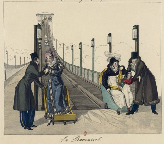 A Helter Skelter. A husband collects his wife and a father his wife and daughter as they finish at the bottom of a helter-skelter. February 1817 Hand-coloured etching fur on pelisse: