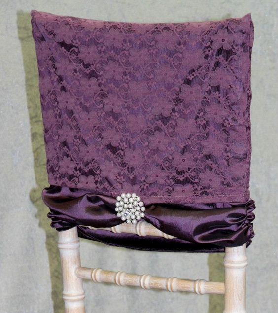 Purple satin hood with lace