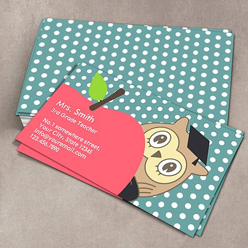 Cute Apple & Owl School Teacher Business Card. You can customize this card with your own text, logo, photo, or use this pre-existing template for FREE.