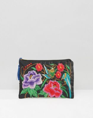 Reclaimed Vintage Embroidered Tassel Clutch Bag