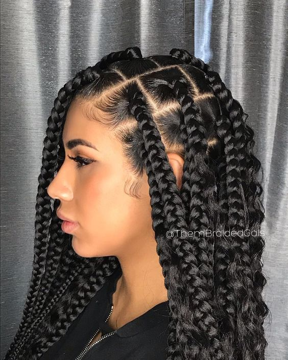 Cornrows Braided Hairstyles 2019 25 Big Box Braids Cornrows That Will Make You Stand Out Correct In 2020 Hair Styles Box Braids Styling African Braids Hairstyles