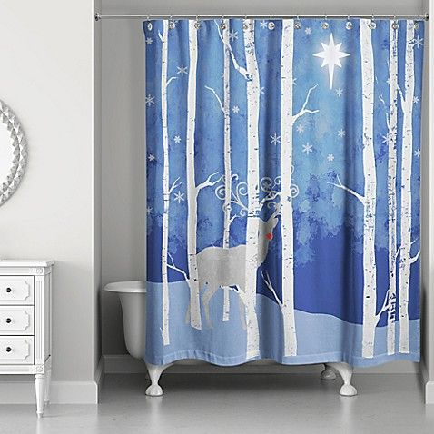 Reindeer Starry Night Shower Curtain In Blue White Christmas