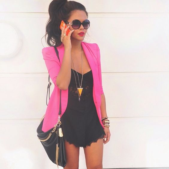 Pink blazers Blazers and Rompers on Pinterest