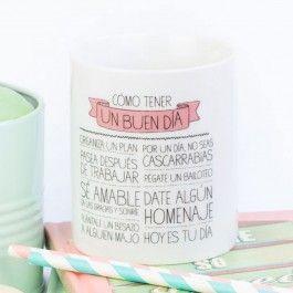 """Taza """"Cómo tener un buen día"""" - Productos Wonder"""