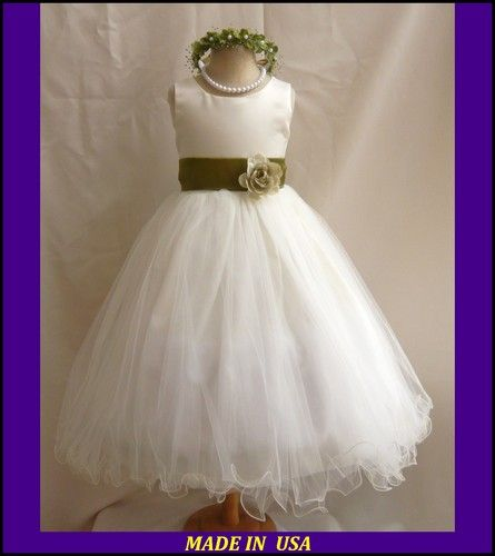 Fl1 ivory olive green wedding pageant recital flower girl dress ...